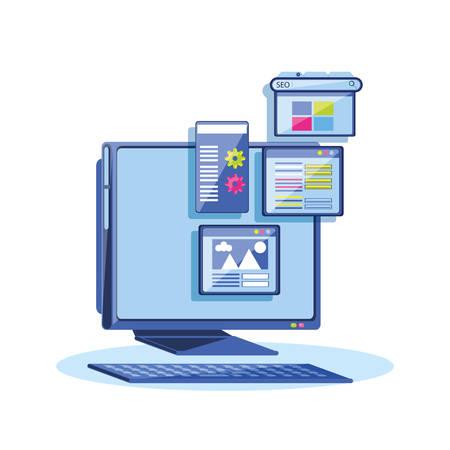 search engine optimization with desktop vector illustration design
