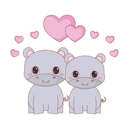cute hipoppotamus in love with hearts around  over white background, vector illustration