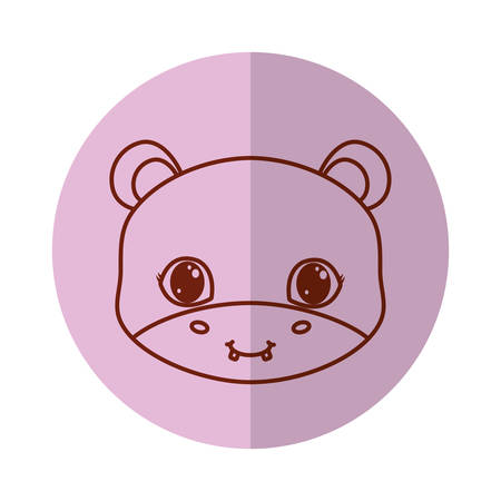 cute hipoppotamus icon over background, vector illustration