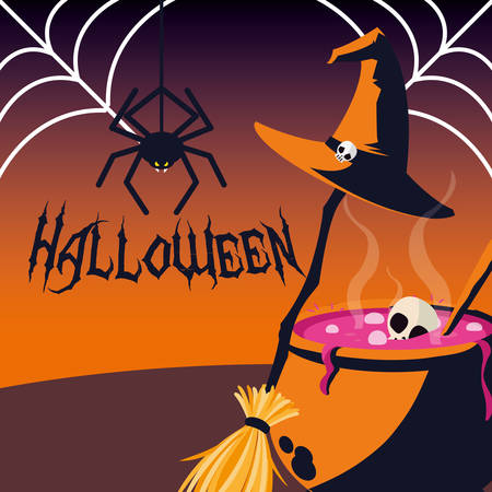 halloween card with spider vector illustration design