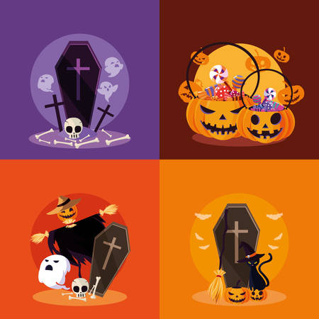 halloween card with set characters vector illustration design