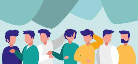 Grupo de hombres posando personajes, diseño de ilustraciones vectoriales