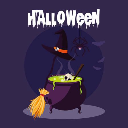 halloween card with witch cauldron vector illustration design Vektorové ilustrace