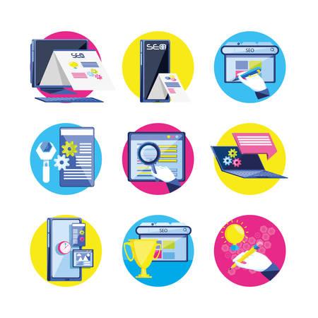 Optimización de motores de búsqueda, diseño de ilustraciones vectoriales iconos