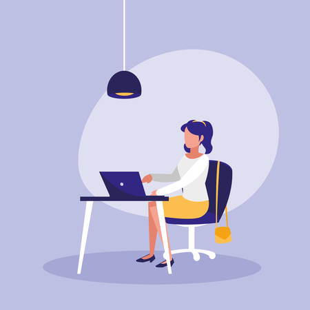 woman with laptop in workplace character vector illustration design