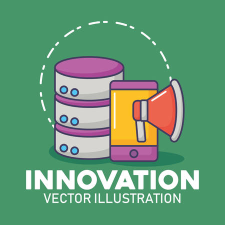 database server smartphone megaphone marketing innovation technology vector illustration