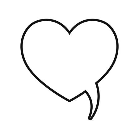 heart love shaped speech bubble vector illustration thin line Иллюстрация