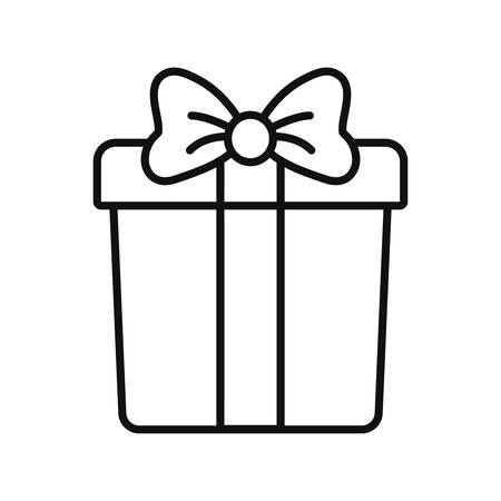 wrapper gift box surprise ribbon bow vector illustration thin line