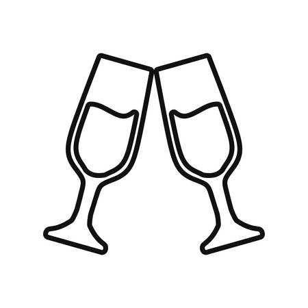 champagne toast tazze bere celebrazione illustrazione vettoriale linea sottile Vettoriali