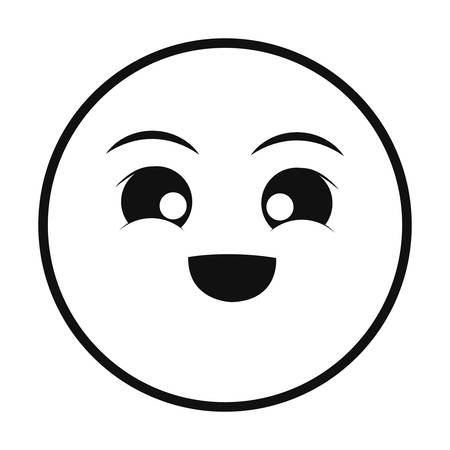 emocionado smiley delgada línea emoticon cara vector illustration Ilustración de vector