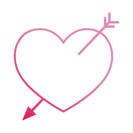 love heart pierced arrow passion romance vector illustration neon