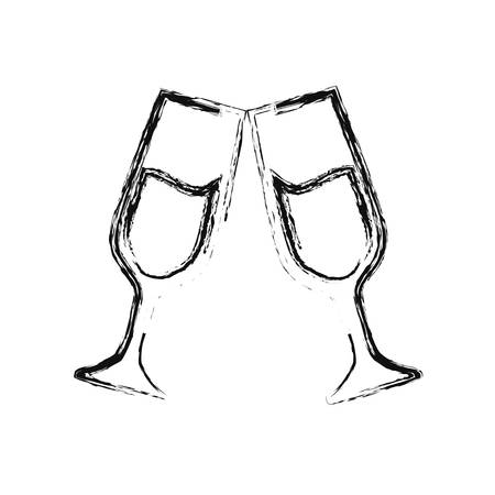 champagne toast cups drink celebration vector illustration hand drawing
