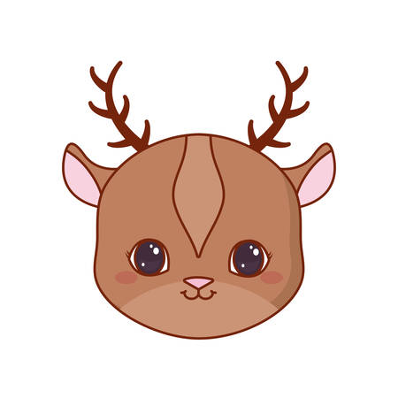 cute face deer cartoon animal vector illustration