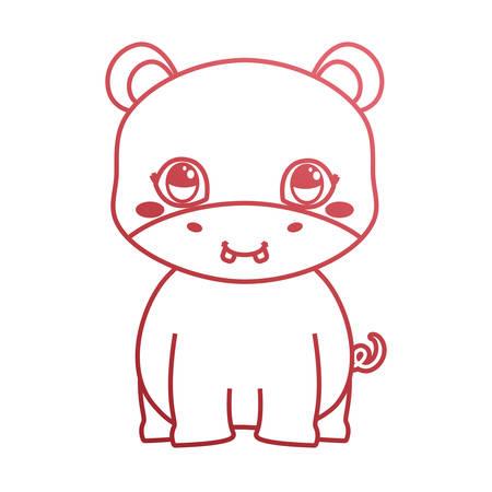 cute hippo baby sitting cartoon vector illustration neon
