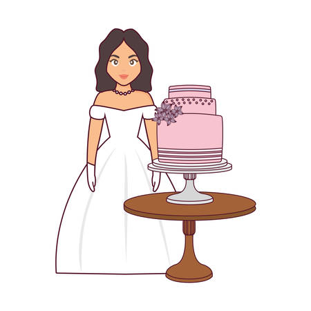 beautiful wedding bride with cake in the table vector illustration Illustration