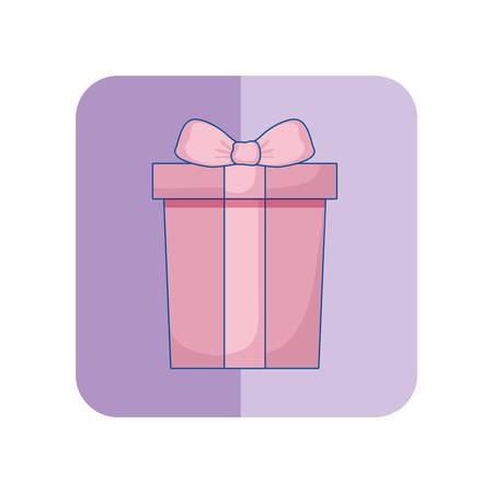 wrapper gift box bow ribbon decoration vector illustration