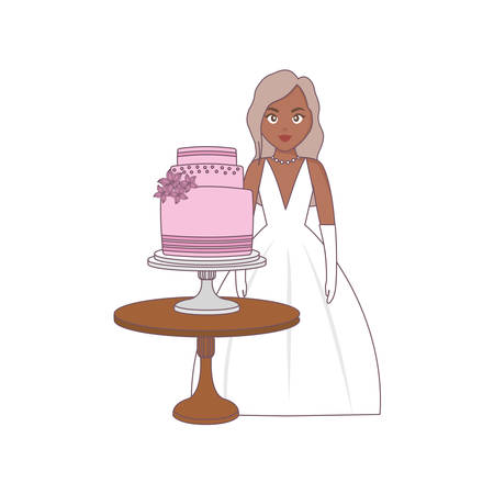 beautiful wedding bride with cake in the table vector illustration Çizim