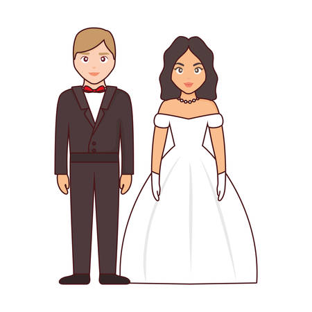 bride and groom couple wedding day vector illustration