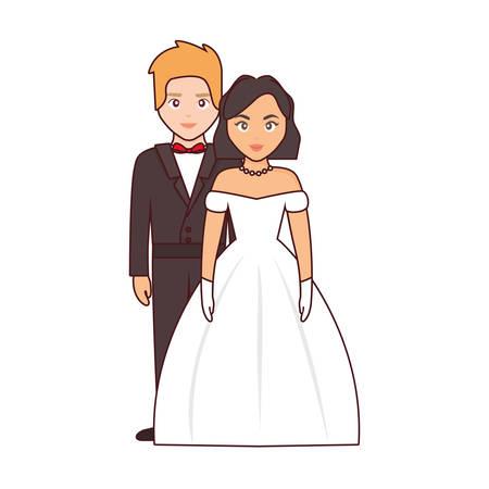 wedding couple icon over white background, colorful design. vector illustration Illustration