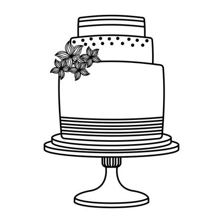 wedding cake floral decoration on stand vector illustration thin line