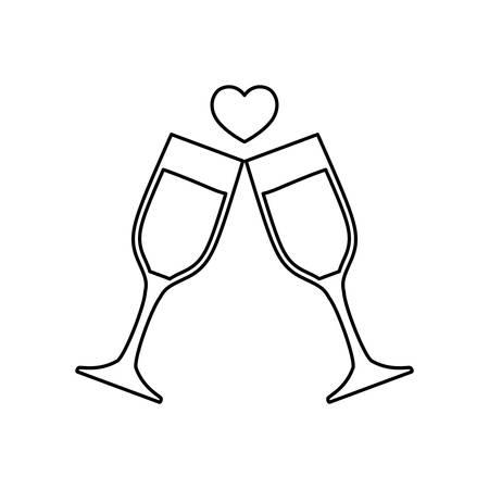 champagne glasses toast love celebration vector illustration thin line