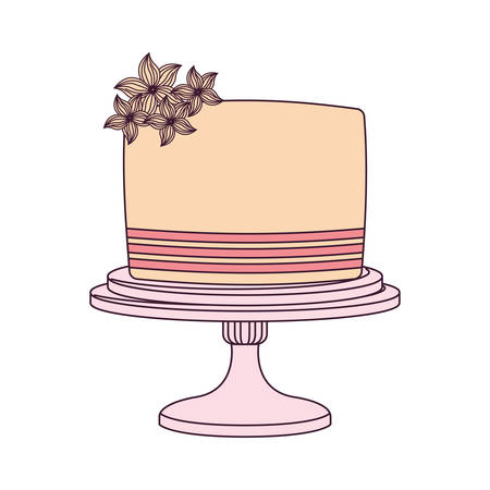 wedding cake icon over white background, vector illustration