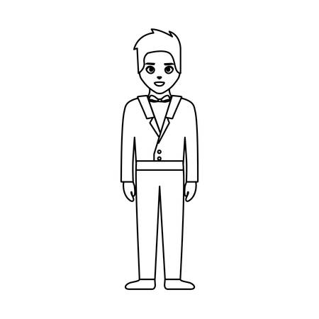 wedding man standing with elegant suit vector illustration thin line