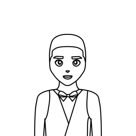wedding groom man in suit fomal vector illustration thin line Ilustración de vector