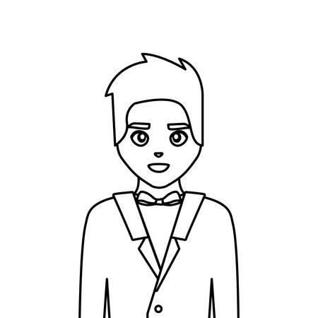 novio de la boda, hombre, en, traje, fomal, vector, ilustración, línea fina