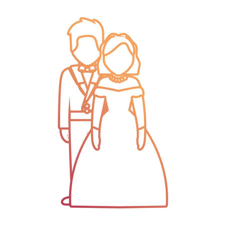 wedding couple icon over white background, vector illustration Ilustração