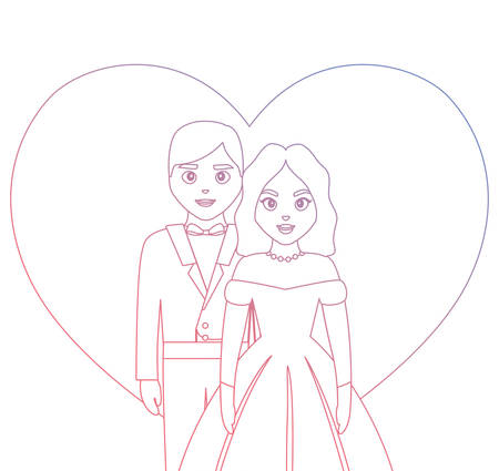 wedding couple icon over white background, vector illustration Illustration