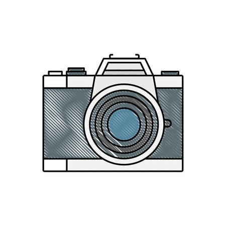 photographic camera lens flash device vector illustration Stock Illustratie