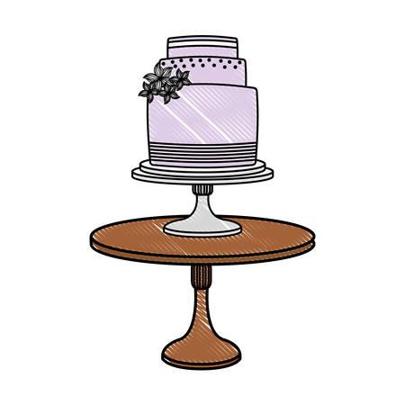 wedding cake floral decoration on stand vector illustration