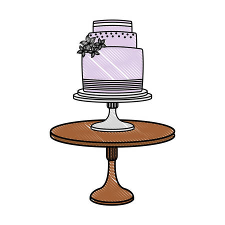wedding cake floral decoration on stand vector illustration