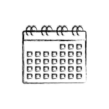calendar planner icon over white background, vector illustration