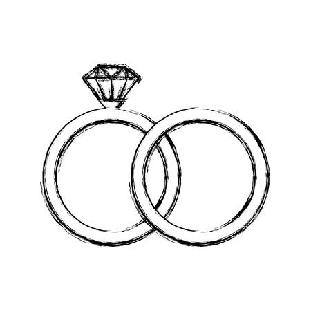 engagement rings icon over white background, vector illustration