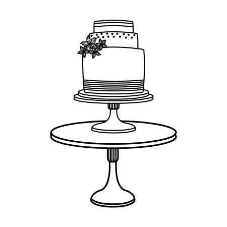 table with wedding cake icon over white background, vector illustration