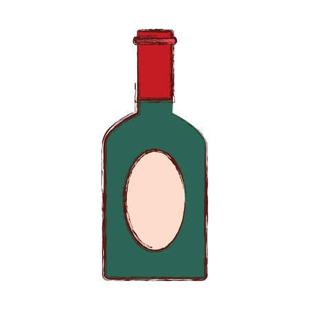 whisky bottle icon over white background, vector illustration