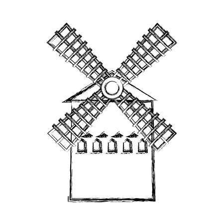 farm windmill icon over white background, vector illustration Reklamní fotografie - 109894944