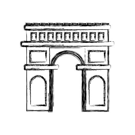 arch of triumph icon over white background, vector illustration Vettoriali
