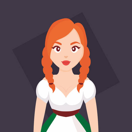 German woman with typical dress vector illustration design