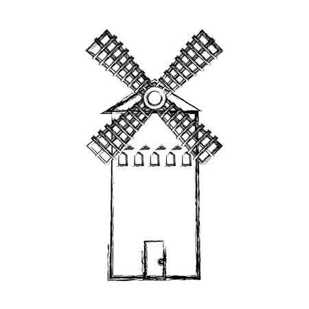 farm windmill icon over white background, vector illustration Reklamní fotografie - 109894972