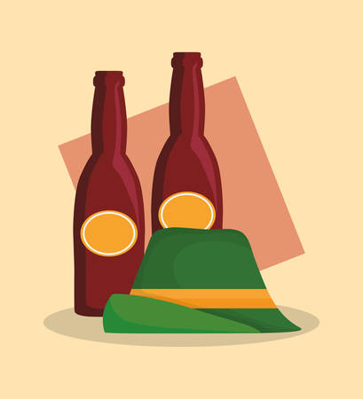 traditional german hat and beers vector illustration design 矢量图像