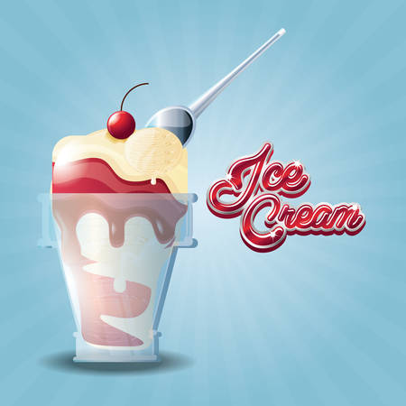 delicious ice cream in glass with spoon vector illustration design Ilustração Vetorial