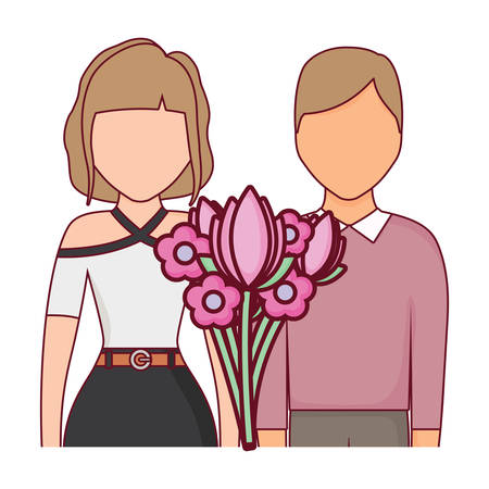 avatar couple with flowers bouquet over white background, vector illustration