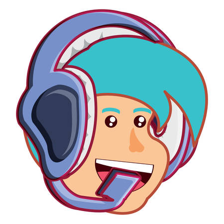 cartoon boy with headset over white background, vector illustration