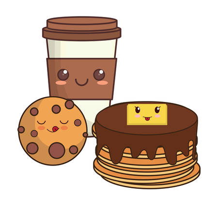 kawaii pancakes with coffee cup and cookie over white background, vector illustration