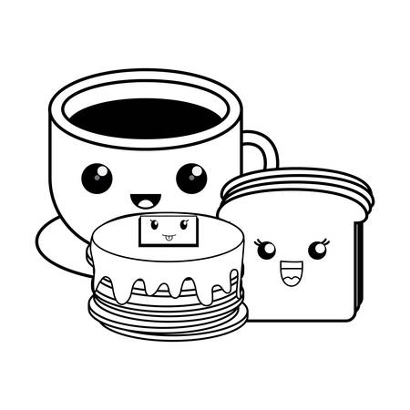 kawaii pancakes with coffee cup and bread slice over white background, vector illustration Illustration