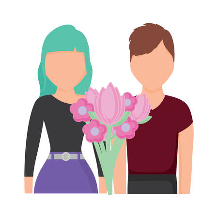 flowers bouquet and avatar couple over white background, colorful design. vector illustration