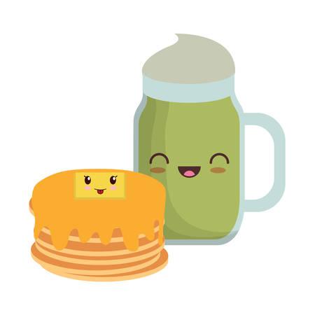 kawaii pancakes and milkshake over white background, vector illustration